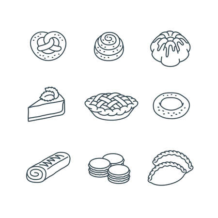 Different pastry items. Sweet dessert food. Simple linear icons of pie, cake, pretzel, bun, roll, cheesecake, bagel, macarons. Homemade baked goods. Bakery products. Outline pictograms. Sketchy style