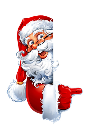 Vector illustration of cartoon Santa Claus character showing a blank sign. You can easily adjust size and color of copy space. Illustration