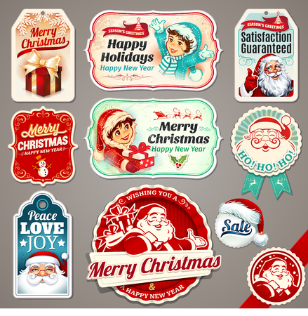 Christmas vector set of vintage labels, badges and banners with Santa Claus, present, children, tree, sleigh, reindeers and line illustrations in retro style. Set of calligraphic and typographic decorative design elements.