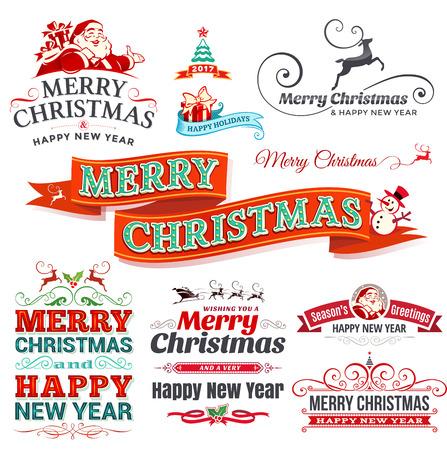 Vektorsatz Weinlese Weihnachtsaufkleber, -ausweise und -fahnen mit Santa Claus-, Geschenk-, Baum-, Pferdeschlitten- und Rentierillustrationen im Retrostil. Satz kalligraphische und typografische dekorative Gestaltungselemente.