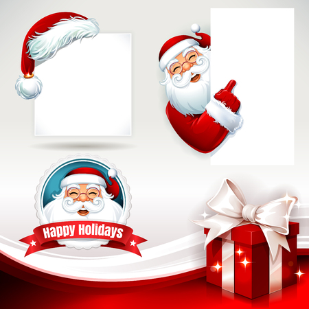 Vector set of Christmas design elements with Santa Claus, present and hat illustrations in retro style. Santa Claus holding a blank sign, copy space.
