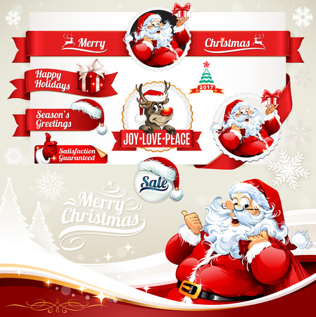 cartoon present: Christmas vector set of vintage labels, badges and banners with Santa Claus cartoon character, present, tree, hat and reindeer retro illustrations. Calligraphic and typographic design elements.