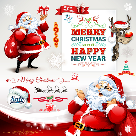 Vector set of vintage Christmas labels, badges and banners with cartoon Santa Claus character, present, tree, hat, sleigh, snowman and reindeer retro illustrations. Calligraphic and typographic design elements.