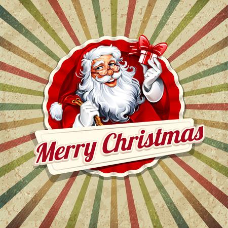 Vector Vintage Weihnachtsgrußkarte mit Weihnachtsmann Retro-Illustration. Kalli und typografische Design-Elemente. Vektorgrafik