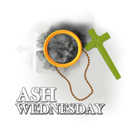 Ash Wednesday wishes greeting, banner, poster, Vector Image Иллюстрация