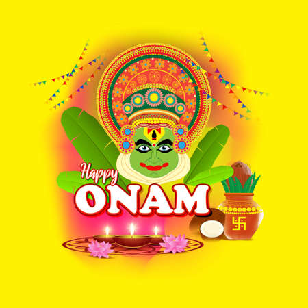 Happy Onam greeting vector image with kathakali face Illustration for south Indian festival.