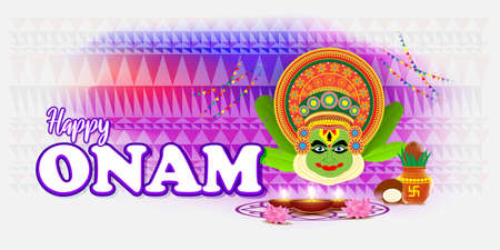 Happy Onam greeting vector image with kathakali face Illustration for south Indian festival.  イラスト・ベクター素材