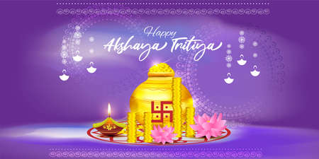 Vector illustration concept of Happy Akshaya Tritiya greeting with golden kalasha and gold coins. Spring festival of the Hindus and Jains. Ilustración de vector
