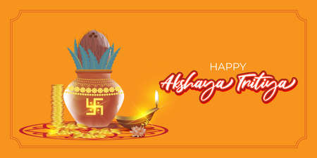 Vector illustration concept of Happy Akshaya Tritiya greeting with golden kalasha and gold coins. Spring festival of the Hindus and Jains.