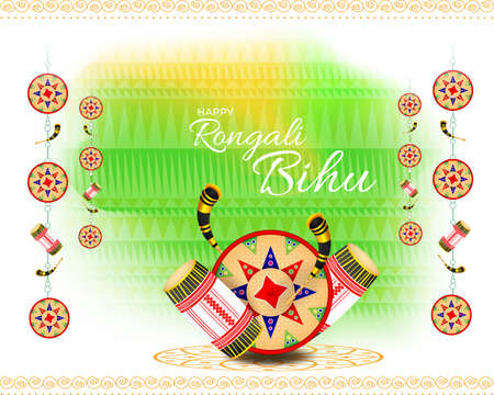 Vector illustration of Happy Bihu, Assamese New Year, Indian traditional festival, Harvest festival of Assam.