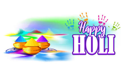Vector illustration of Happy Holi greeting, written Hindi text means it's Holi, Festival of Colors, festival elements with colourful Hindu festive background