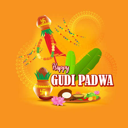 Vector illustration concept of Happy Ugadi greeting with kalasha and traditional food. Also called Gudi Padwa. South Indian New Year's Day. Ilustração
