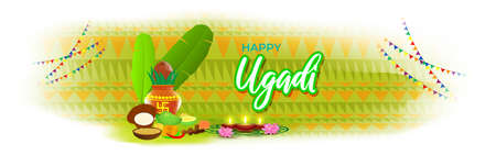 Vector illustration concept of Happy Ugadi greeting with kalasha and traditional food. Also called Gudi Padwa. South Indian New Year's Day.