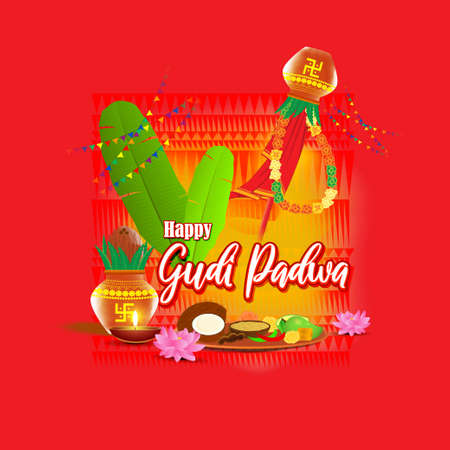 Vector illustration concept of Happy Ugadi greeting with kalasha and traditional food. Also called Gudi Padwa. South Indian New Year's Day. Vettoriali