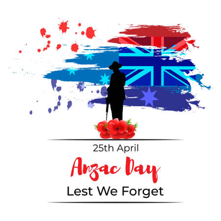 Vector illustration concept of Anzac Day with poppy flowers. 25 April. National remembrance day in Australia and New Zealand.