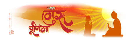 Vector illustration of Guru Purnima concept banner, student expressing gratitude towards spiritual teacher.