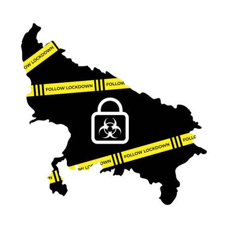 Vector illustration for lockdown in Uttar Pradesh , India due to COVID-19 second wave