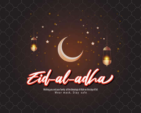 Vector illustration concept of Eid al-Adha, also known as Bakra Eid. Wear mask, Stay Safe.