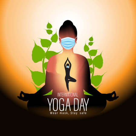 Vector illustration of International Yoga day concept banner, 21 June. Vetores