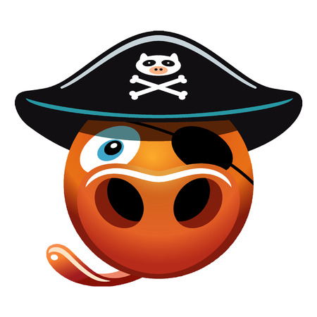 Cute cartoon of pig face with imaginative pirate theme