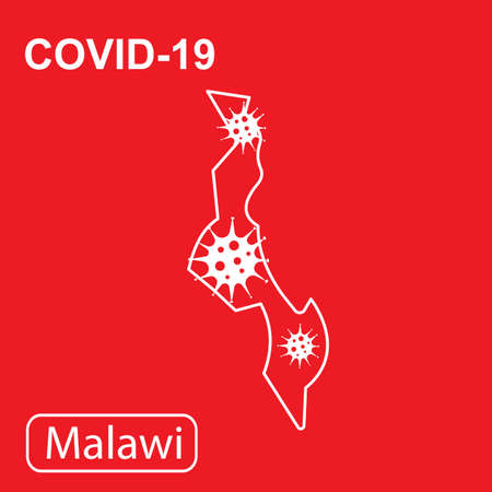 Map of Malawi labeled COVID-19. White outline map on a red background. Vector illustration of a virus, coronavirus, epidemiology.