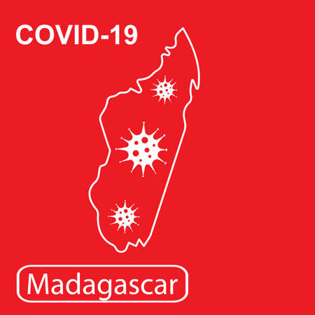 Map of Madagascar labeled COVID-19. White outline map on a red background. Vector illustration of a virus, coronavirus, epidemiology.