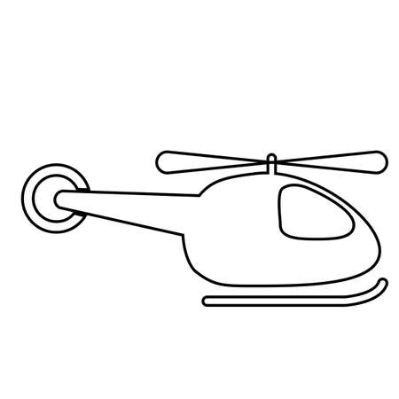Black outline of a helicopter on a white background. Vector icon.