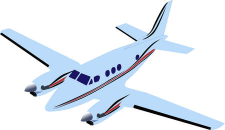 Blue twin-engine passenger plane. Vector illustration isolated on white background.