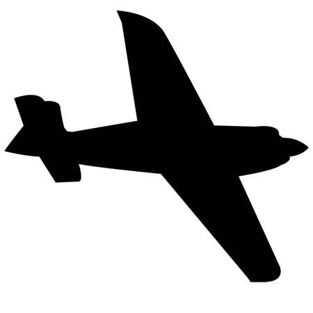 ropeller motor sport aircraft. Black silhouette on a white background. Vector image.