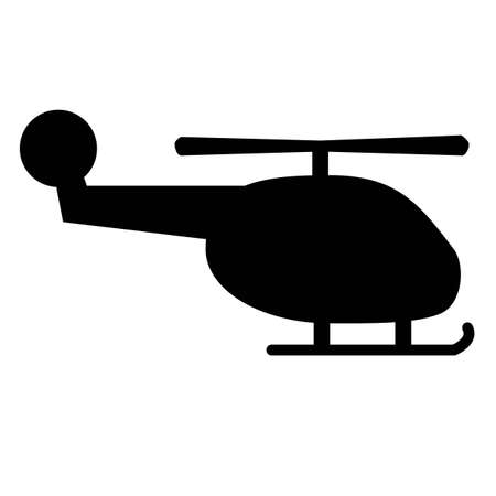 Black silhouette of a helicopter on a white background...Vector icon.