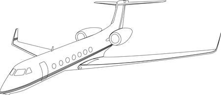 The contour of a private passenger plane on a white background. A modern aircraft with two jet engines in the rear of the fuselage. Vector illustration. 矢量图像