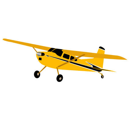 Yellow plane on a white background. Private upper wing passenger plane. Vector illustration.
