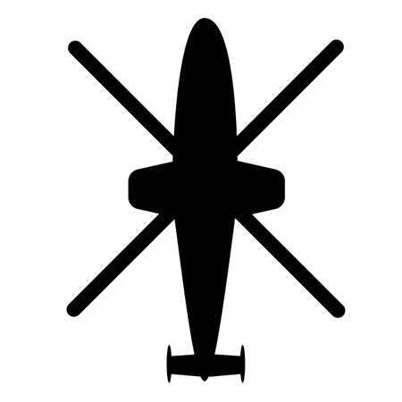 Black silhouette of four blade helicopter on a white background, top view. Vector icon.
