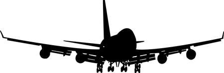 Silhouette of a large passenger plane. A silhouette on a white background of an aircraft with four engines landing gear. Vector illustration.