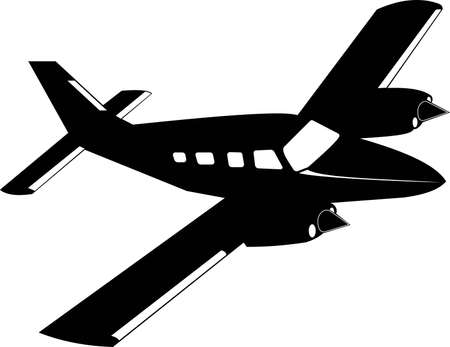 Silhouette of a private twin-engine propeller-driven aircraft. Silhouette of a passenger plane in black on a white background. Vector illustration.