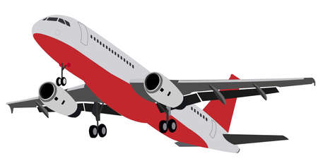 Twin-engine wide-bodied passenger aircraft. Gray plane with a red bottom and a landing gear. Vector illustration.