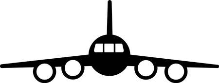 Four-engine jet passenger aircraft. Black silhouette of an airplane on a white background, view from the front. Vector illustration. Ilustração
