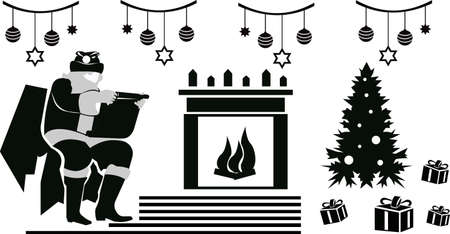 Christmas illustration with Santa Claus reading a list of gifts from good children. Christmas tree with toys and gifts on the background of a fireplace with a burning fire.