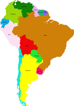 Map of the countries of South America. Geographic map of the contours of different colors.