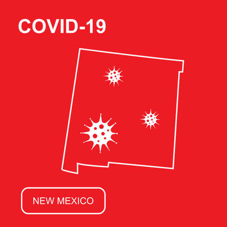 Map of New Mexico State labeled COVID-19. White outline map on a red background. Vector illustration of a virus, coronavirus, epidemiology. 矢量图像