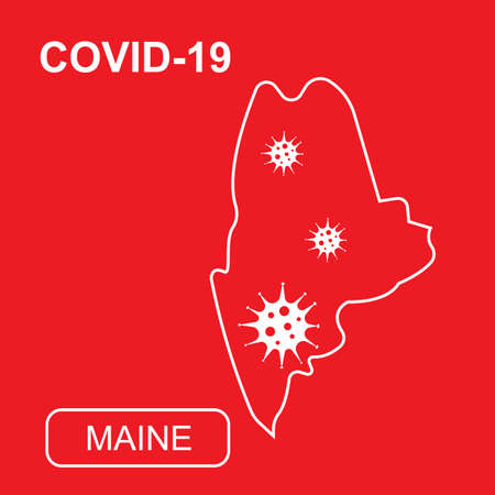 Map of Maine State labeled COVID-19. White outline map on a red background. Vector illustration of a virus, coronavirus, epidemiology.