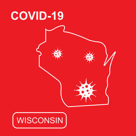Map of Wisconsin State labeled COVID-19. White outline map on a red background. Vector illustration of a virus, coronavirus, epidemiology.