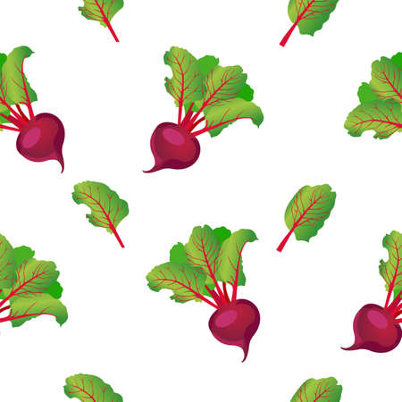 Seamless pattern of purple beets with green leaves. Vector illustration isolated on a beige background.
