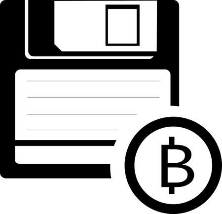 Illustration of an isolated floppy disk with a bitcoin icon. Storing information about bitcoin in memory. Designed for toolbars in the user interface.