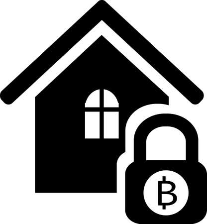 Blocking Bitcoin from users at home. Designed for toolbars in the user interface. A vector image isolated on a transparent background.