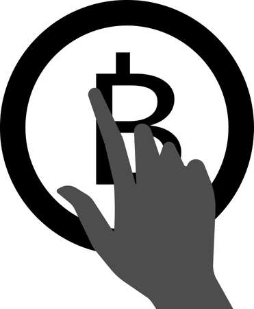 Vector icon of clicking the Bitcoin button. Designed for toolbars in the user interface. A vector image isolated on a transparent background.