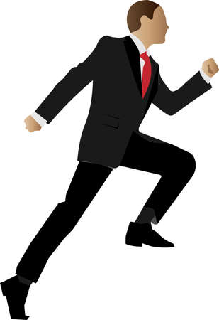 A running businessman in a classic suit. Hes late for a business meeting. Vector illustration of a character with an unrecognizable anonymous face.