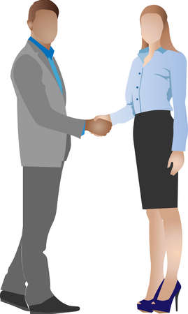 A man and a woman shake hands. Greeting with a handshake. The negotiations were successful. Vector illustration of a character with an unrecognizable anonymous face. Stock Illustratie