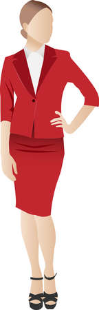 A slim, businesslike young girl in a red suit with a skirt. Vector illustration of a character with an unrecognizable anonymous face.