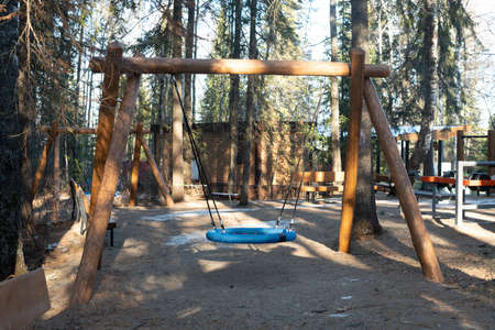 Children swing in the form of a blue donut on the ropes. Swing on a wooden support in the national park in winter. Places of mass stay of people in the fresh air.
